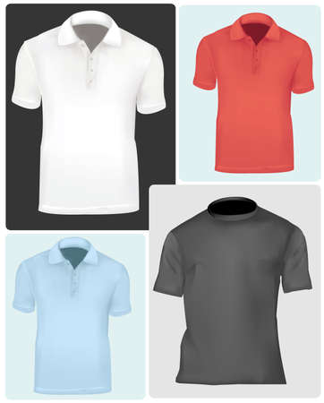 Colored t-shirts with triangle collars.  Vector