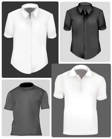 clothing shop: Polo shirts and t-shirts.  Illustration