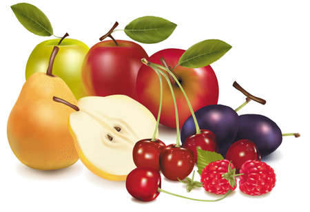 fresh food: Group of fruit.