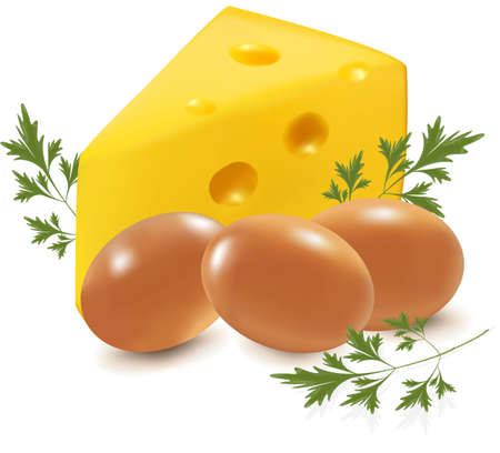 cheddar cheese: Cheese and eggs with parsley Illustration