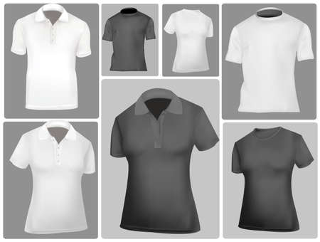 Black and white sporty polo shirts and t-shirts Stock Vector - 9664901