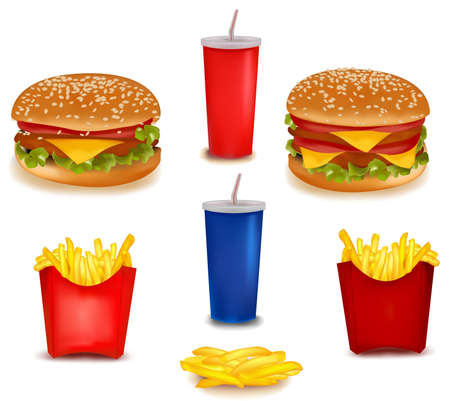 Big group of fast food products.  Vector