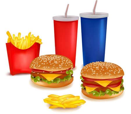 potato chip: fast food products.  Illustration