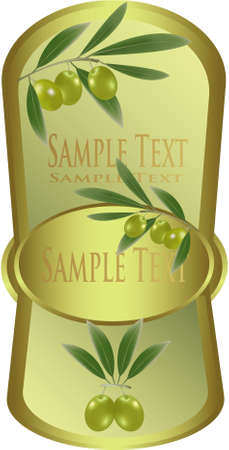Yellow label with green olives  Vector