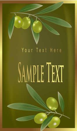olive leaf: Etiqueta amarilla con aceitunas verdes