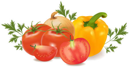 tomato juice: Group of vegetables with parsley. Illustration