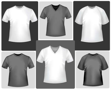 Black and white sporty polo shirts and t-shirts Vector