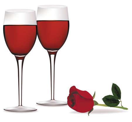 Glas Rotwein und eine schöne rote Rose.