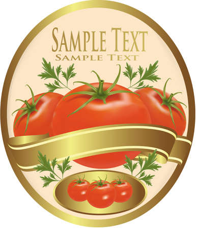 gourmet: Label with tomatoes and parsley Illustration