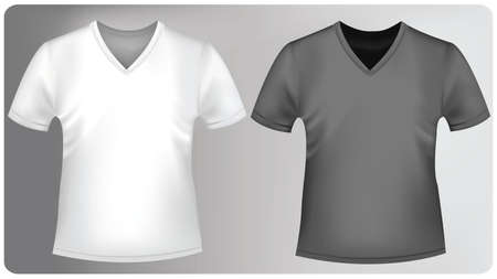 Two polo shirts and two T-shirts (men). Black and white.  Vector