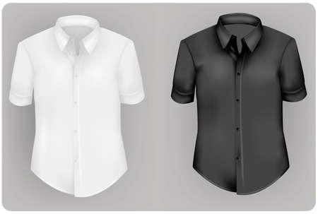 camisa: Dos camisas de polo y dos camisetas (hombres). Blanco y negro.  Vectores