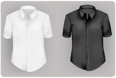 clothing shop: Two polo shirts and two T-shirts (men). Black and white.