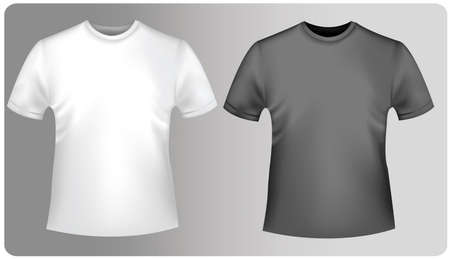 Two polo shirts and two T-shirts (men). Black and white. Stock Vector - 9665107