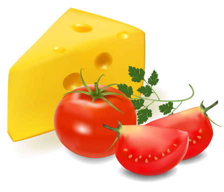 shred: Cheese with tomato