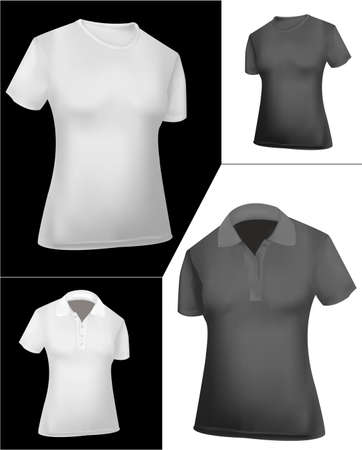 casual wear: T-shirts and polo shirts (women). Black and white.