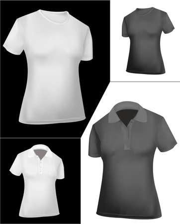 dress size: T-shirts and polo shirts (women). Black and white.