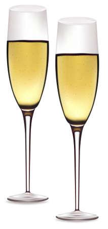 Two glasses of champagne.  Иллюстрация