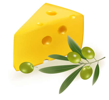 Cheese with green olives.  Vector