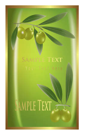 Label with green olives for olive oil products, cosmetics etc. Vector