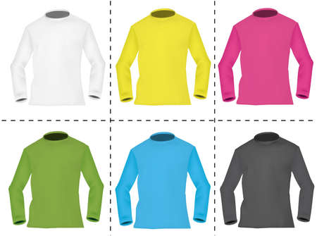 sweatshirts: Six colored men sweatshirts.