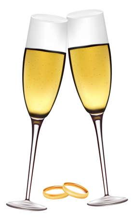 Deux verres de champagne avec des anneaux de mariage.  Vecteurs