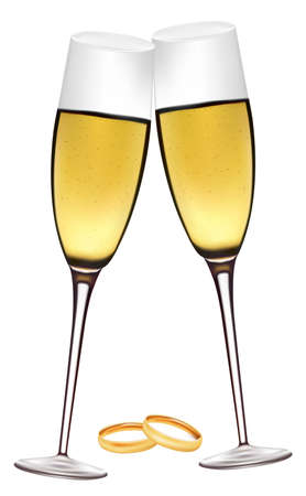 Two glasses of champagne with wedding rings. Stock Vector - 9723207