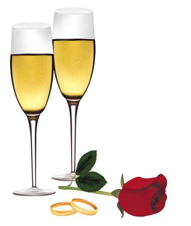 Zwei Gläser Sekt, eine Rose und zwei Eheringe.