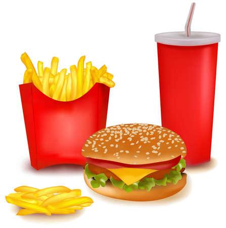 Grupo de productos de comida rápida.
