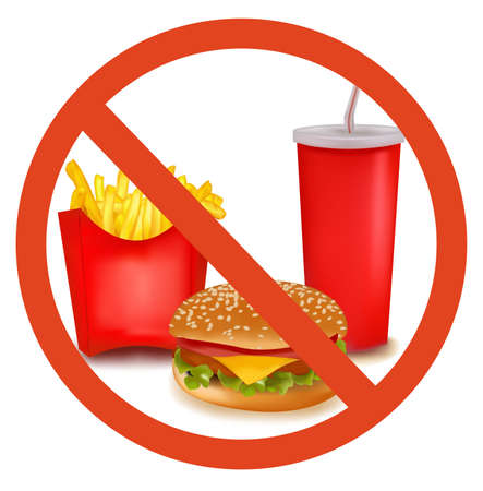 food additives: Fast food danger label  Illustration