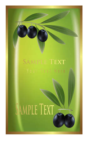 Label with black olives for olive oil products, cosmetics etc.  Vector
