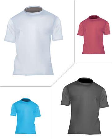 dress size: T-shirt design template (men). Black, white, blue and red.  Illustration