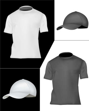 T-shirt and cap design template (men). Black and white.  Vector