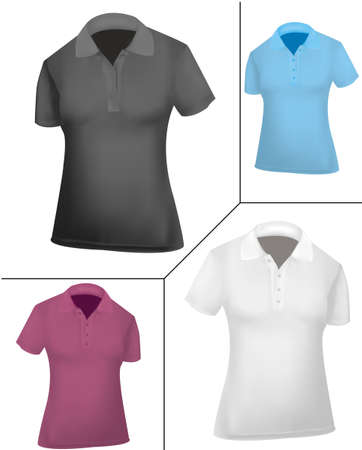 polo shirt: Polo shirt and cap design template (women). Black and white, pink and blue.