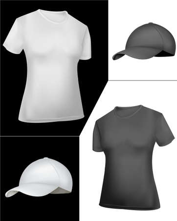 T-shirt and cap design template (women). Black and white.  Vector