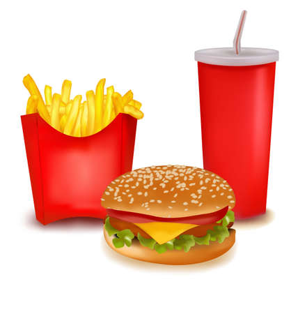 burger and fries: Group of fast food products.  Illustration