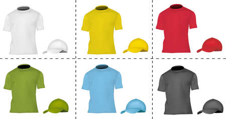 Collection of cap and T-shirt templates (men). Black, white, blue, red, green and yellow.  Vector