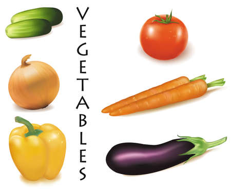 카레: Six colorful vegetables.