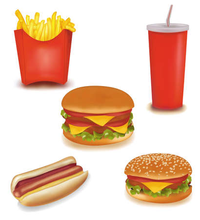 vegetable fat: Set of fast food Illustration