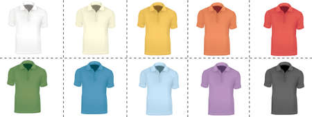 Collection of T-shirt templates (men). Black, white, blue, red, green and yellow.  Stock Vector - 9665318