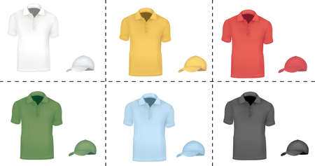 Collection of cap and T-shirt templates (men). Black, white, blue, red, green and yellow. Stock Vector - 9665317