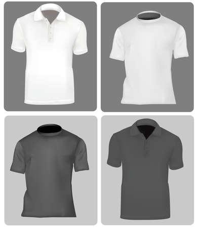 in shirt: Dos camisas de polo y dos camisetas (hombres). Blanco y negro.  Vectores
