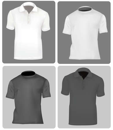polo: Twee polo shirts en twee T-shirts (mannen). Zwart-wit.