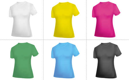 t shirt blue: Collection of T-shirt templates (women). Black, white, blue, red, green and yellow.