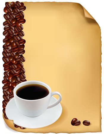 demitasse: Design with cup of coffee and coffee grains. Vector.  Illustration
