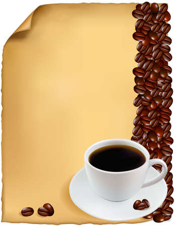 Design with cup of coffee and coffee grains. Vector.  Vector