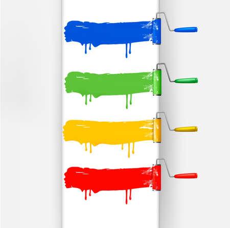 roller brush: Conjunto de coloridos pinceles de rodillos. Ilustraci�n vectorial.