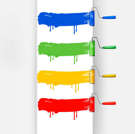 farbrolle: Reihe von bunten Pinseln Walze. Vektor-Illustration.
