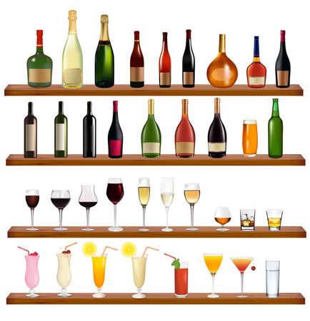 Set di bottiglie sul muro e bevande. Illustrazione vettoriale.  Vettoriali