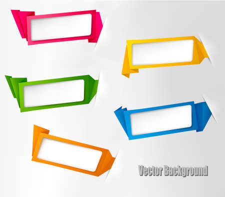 titles: Set of colorful origami paper banners. Vector illustration.
