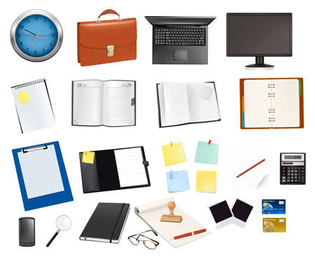 Business and office supplies. Vector illustration. Stock Vector - 9720871
